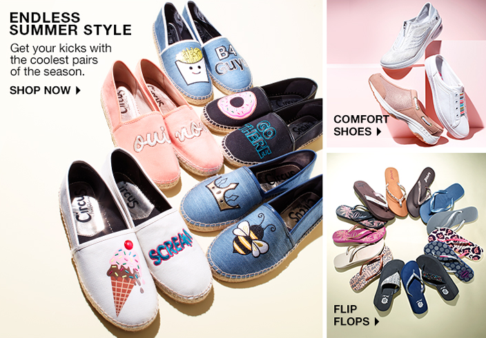 Endless Summer Style, Get your kicks with the coolest pairs of the season, Shop now, Comfort Shoes, Flip Flops
