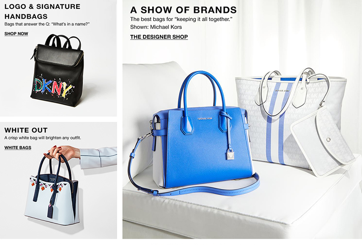 Logo and Signature Handbags, Shop Now, White Our, White Bags, A Show of Brands, The Designer Shop