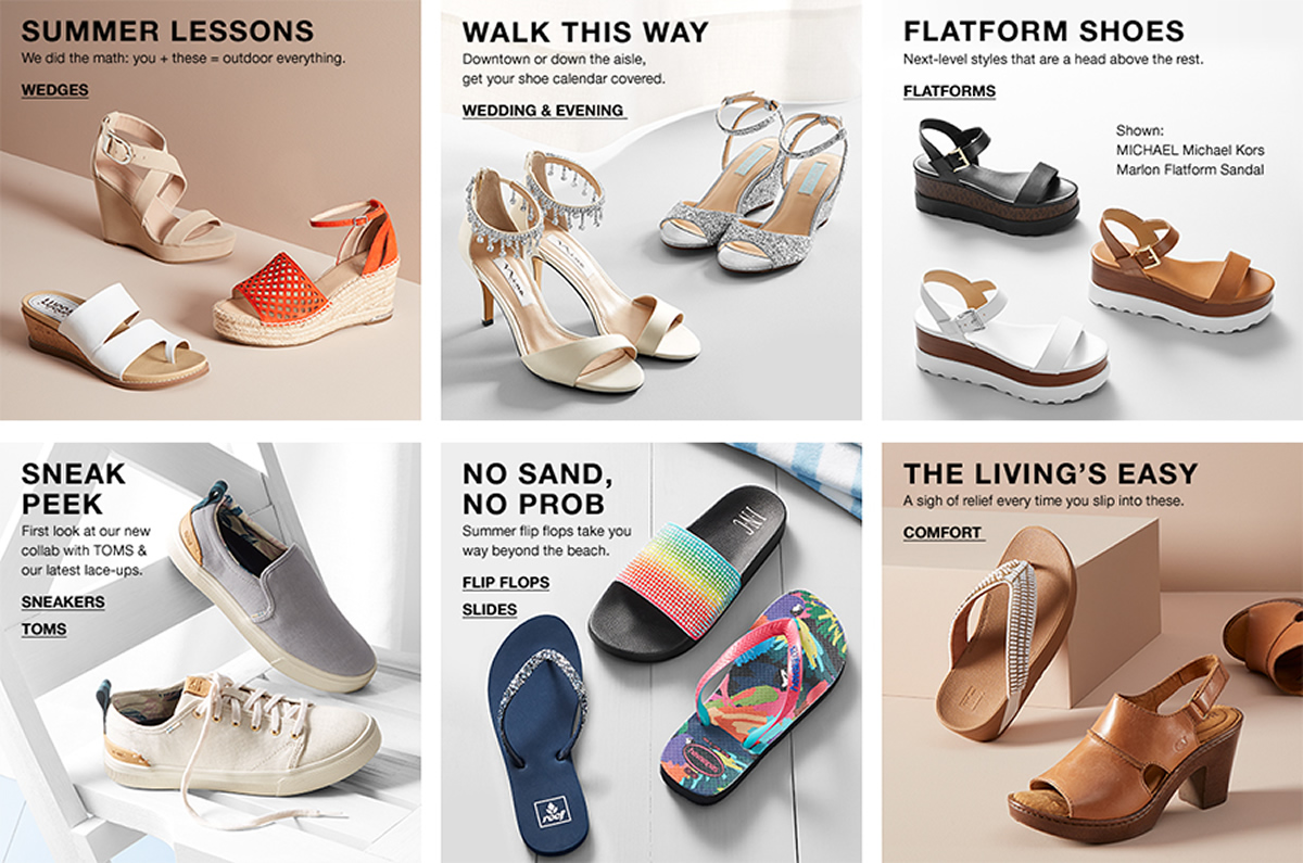 Summer Lessons, Wedges, Walk This Way, Wedding and Evening, Flatform Shoes, Flatforms, Sneak Peek, Sneakers, Toms, No Sand, No Prob, Flip Flops, Slides, The Living's Easy, Comfort