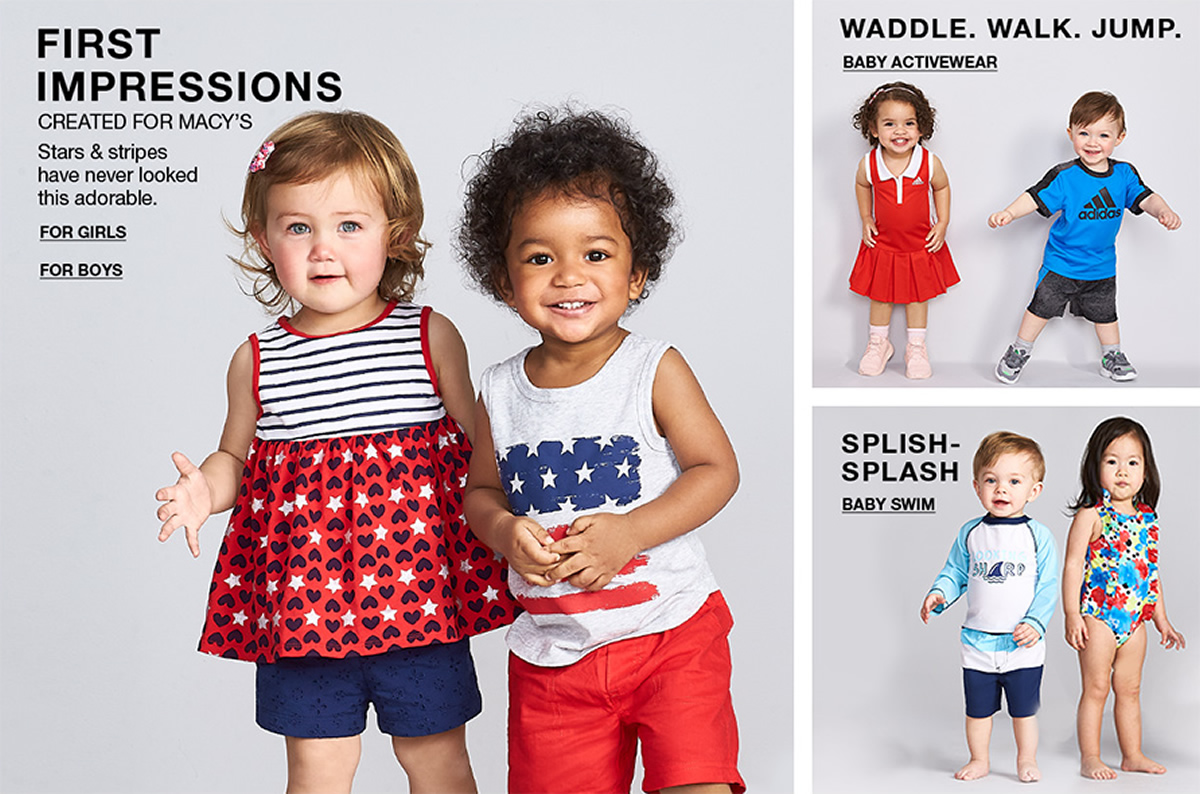 First Impressions, Created For Macy's, Starts and stripes have never looked this adorable, For Girls, For Boys, Waddle, Walk, Jump, Baby Activewear, Splish-Splash, Baby Swim