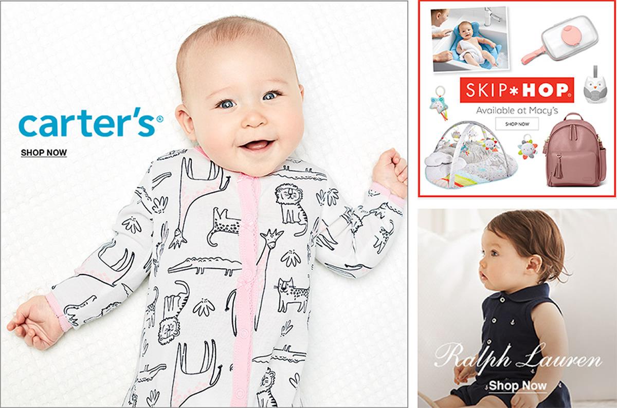 Carter's, Shop Now, Skip Hop, Available at Macy's, Shop Now, Ralph Lauren, Shop Now