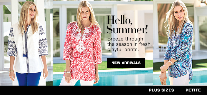Hello, Summer! Breeze through the season in fresh, playful prints, New Arrivals, Plus Sizes, Petite