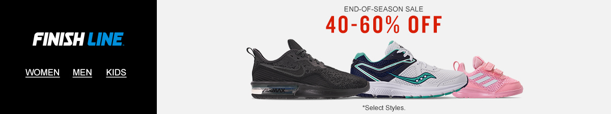 Finish line, Women, Men, Kids, End-of-Season Sale, 40-60 percent Off