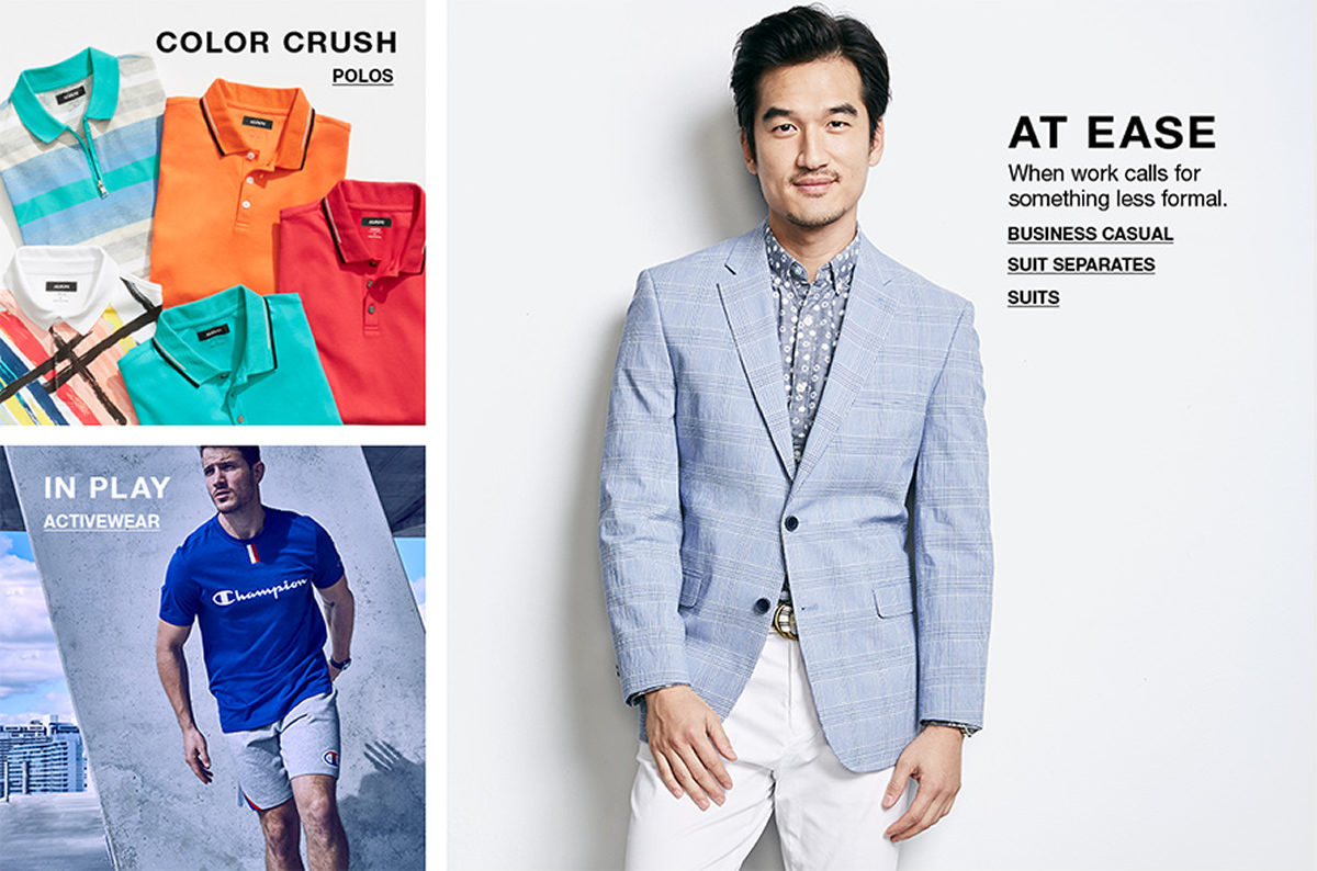 Color Crush, Polos, At Ease, When work calls for something less formal, Business Casual, Suit Separates, Suits, In Play, Activewear