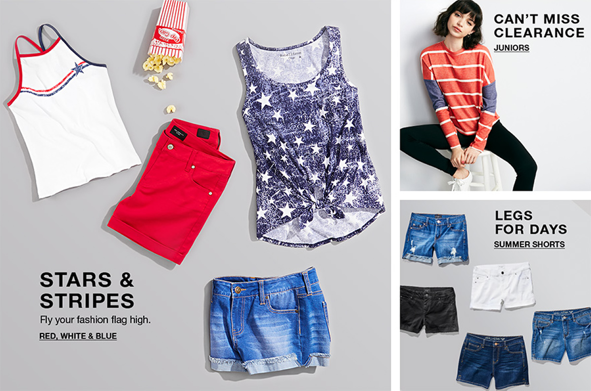 Stars and Stripes, Fly your fashion flag high, Red, White and Blue, Can't Miss Clearance, Juniors, Legs For Days, Summer Shorts