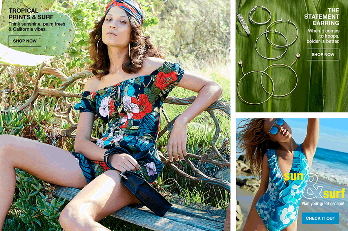 Tropical Prints and Surf, Shop Now, The Statement Earring, Shop Now, Sun and Surf, Check It Out