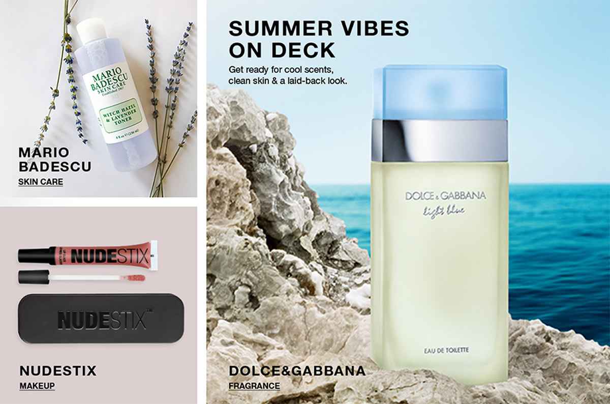 Mario Badescu, Skin Care, Nudestix, Makeup, Summer Vibes on Deck, Get ready for cool scents, clean skin and a laid-back look, Dolce and Gabbana, Fragrance