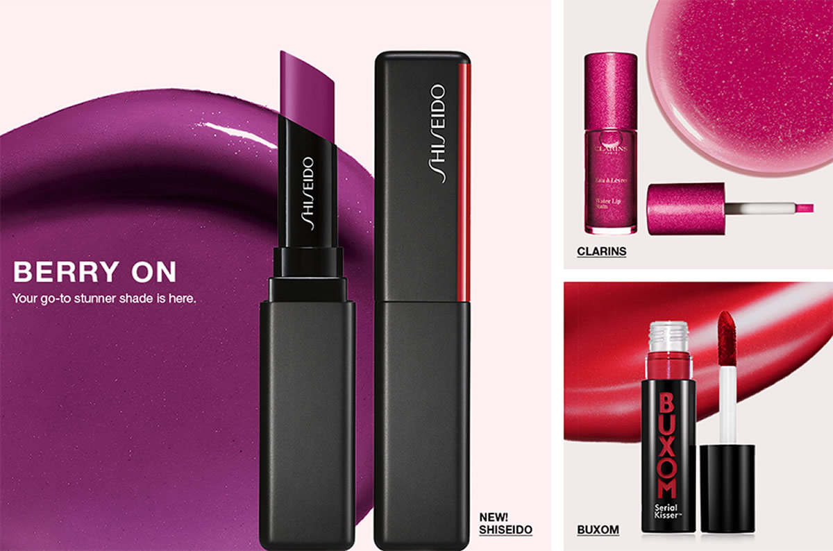 Berry on, Your go-to stunner shade is here, New! Shiseido, Clarins, Buxom