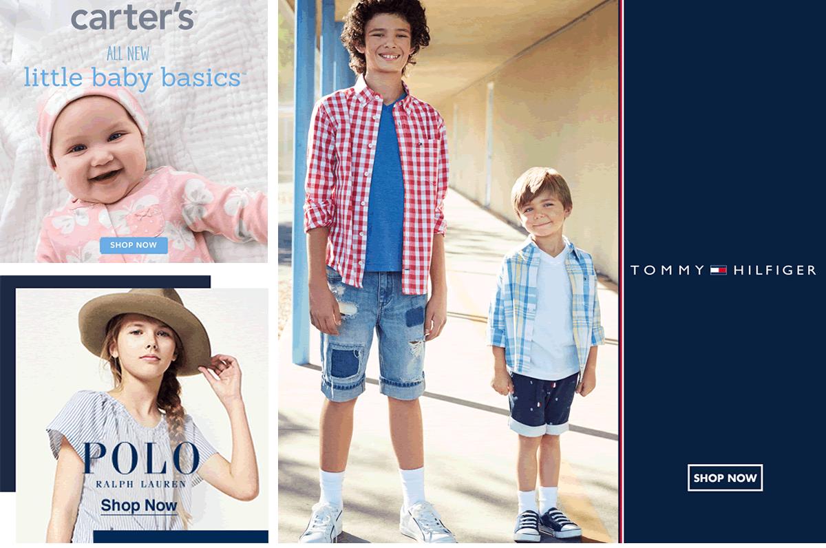 Carter's, All New, Little Baby basics, Shop Now, Polo, Ralph Lauren, Shop Now, Tommy Hilfiger, Shop Now