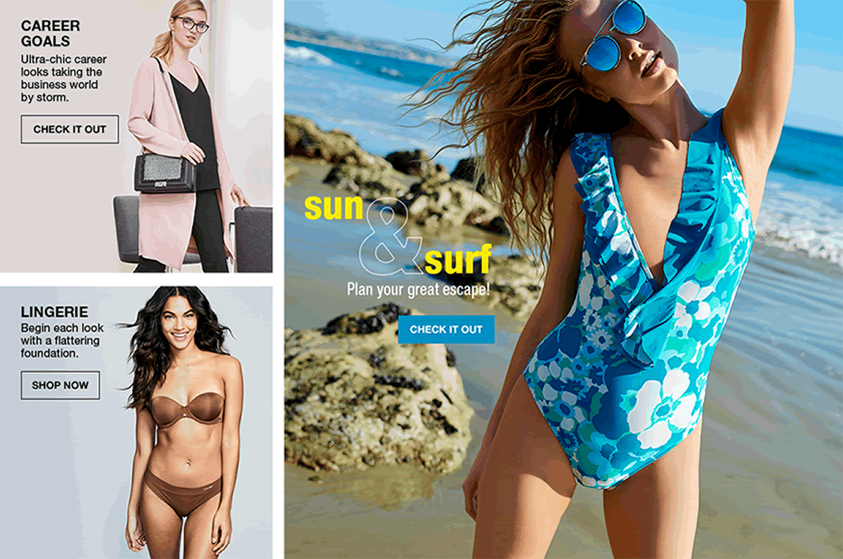 Career Goals, Check It Out, Lingerie, Shop Now, Sun and Surf, Plan Your Great Escape! Check It Out
