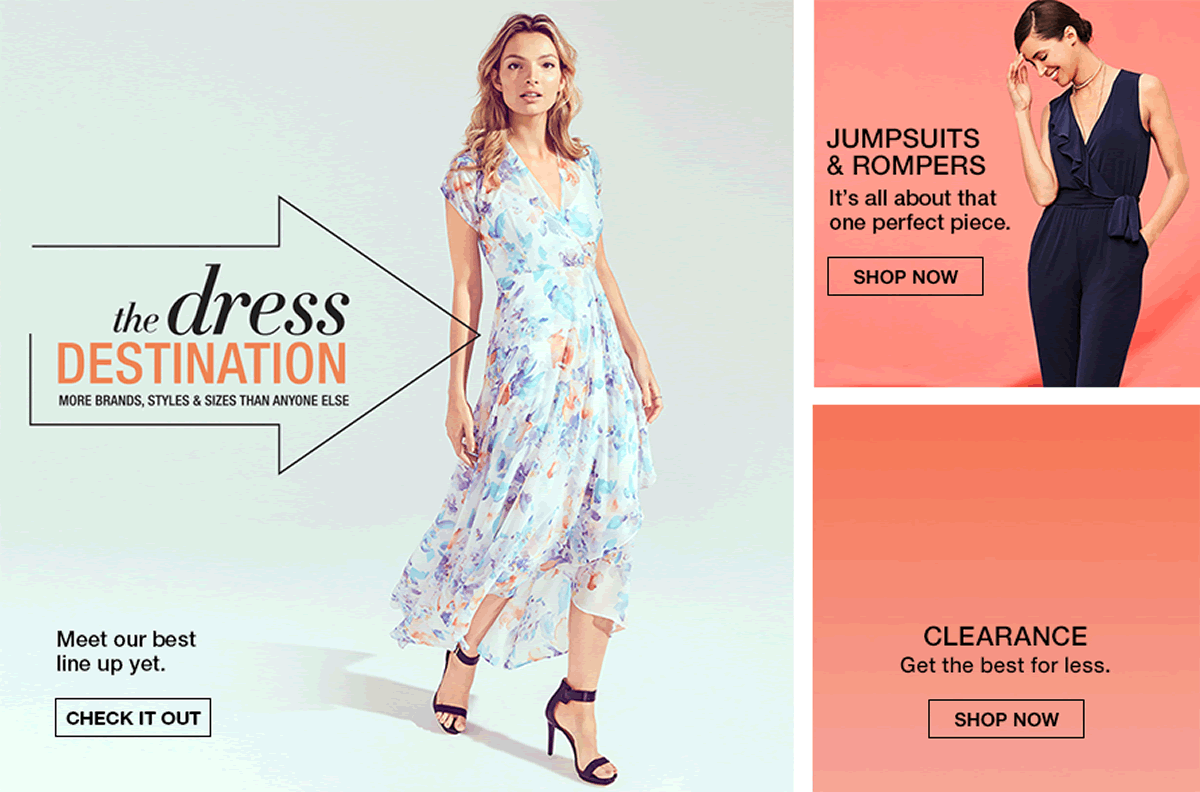 The Dress Destination, Check it Out, Jumpsets and Rompers, Shop Now, Clearance, Shop Now