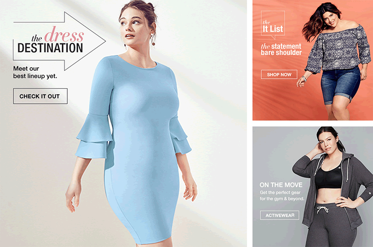 The Dress Destination, Check it Out, The It List, Shop Now, On The Move, Activewear