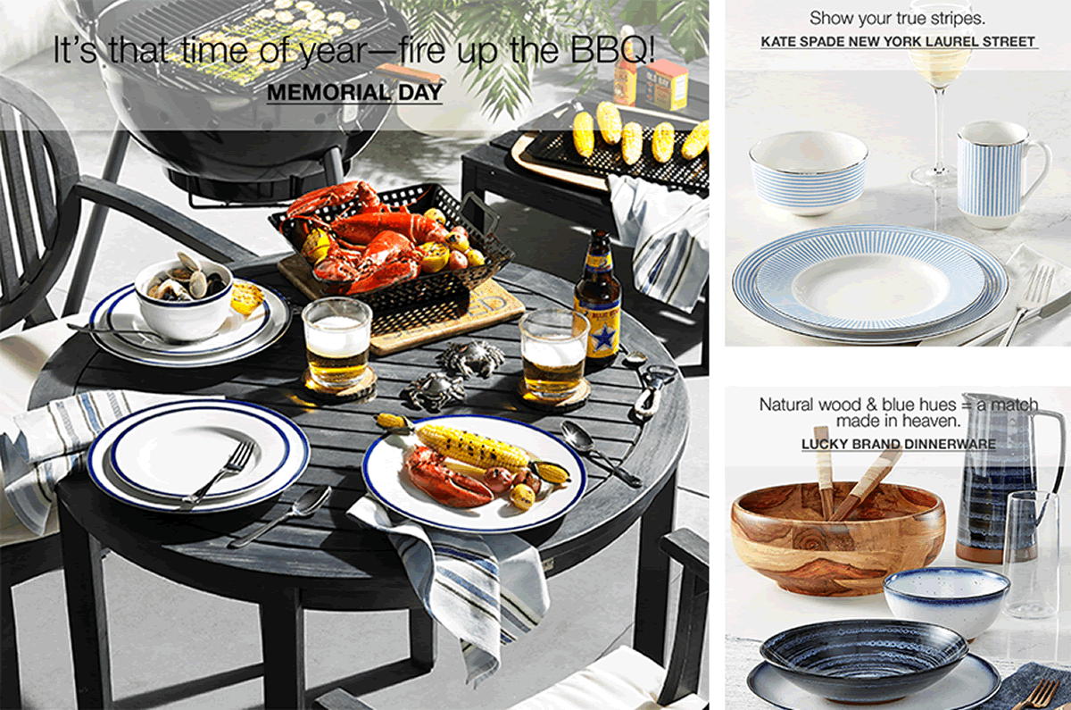 It's that time of year-fire up the BBQ! Memorial Day, Show your true stripes, Kate Spade New York Laurel Street, Natural wood and blue hues = a match made in heaven, Lucky Brand Dinnerware