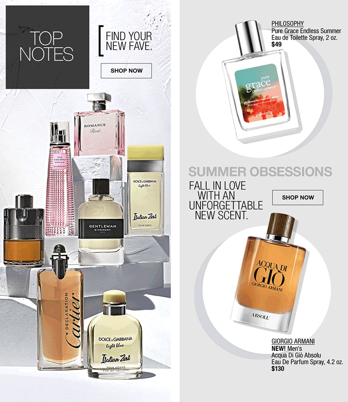 Top Notes, Find Your New Fave, Shop Now, Philosophy, Pure Grace Endless Summer Eau de Toilette Spray, 2 oz, $49, Summer Obsessions, Fall in Love with an Unforgettable New Scent, Giorgio Armani
