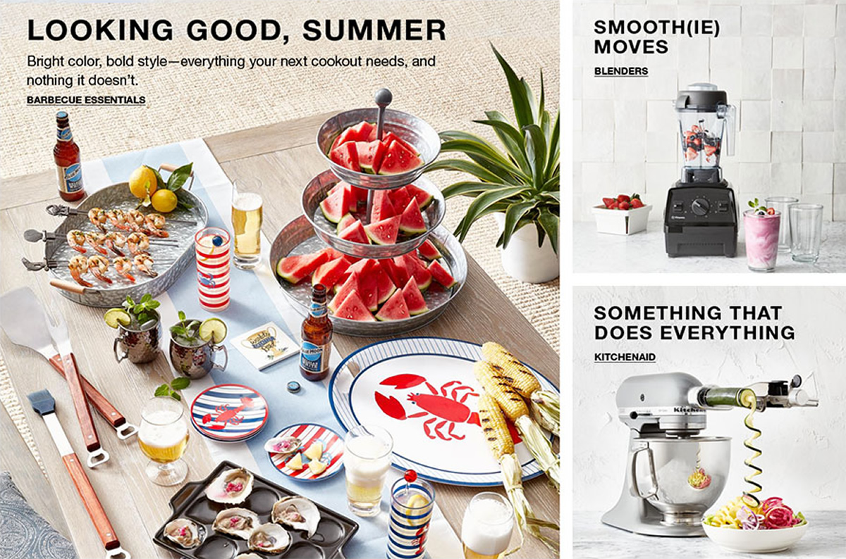 Looking Good, Summer, Bright color, bold style-everything your next cookout needs, and nothing it doesn't, Barbecue Essentials, Smooth(ie) Moves, Blenders, Something That Does Everything, Kitchenaid