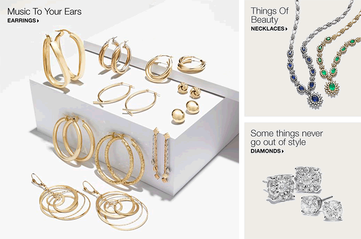 Music To Your Ears, Earrings, Things of Beauty, Necklaces, Some things never go out of style, Diamonds