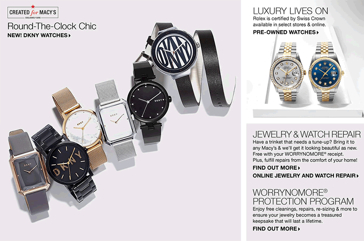 Round-The-Clock-Chic, New! Dkny Watches, Luxury Lives On, Pre-Owned Watches, Jewelry and Watch repair, Find Out More, Online Jewelry And Watch Repair, Worry No More, Protection Program, Find Out More