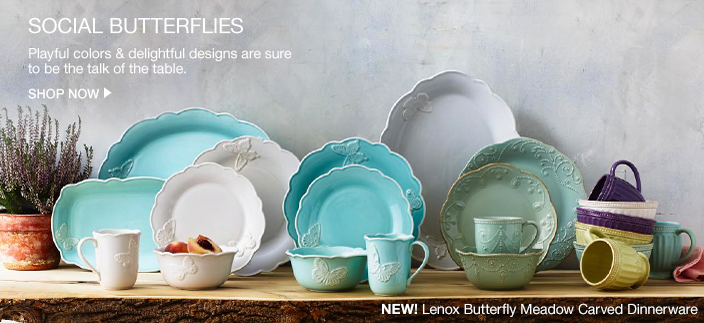 Social Butterflies, Playful colors and delightful designs are sure to be the talk of the table, Shop Now, New! Lenox Butterfly Meadow Carved Dinnerware