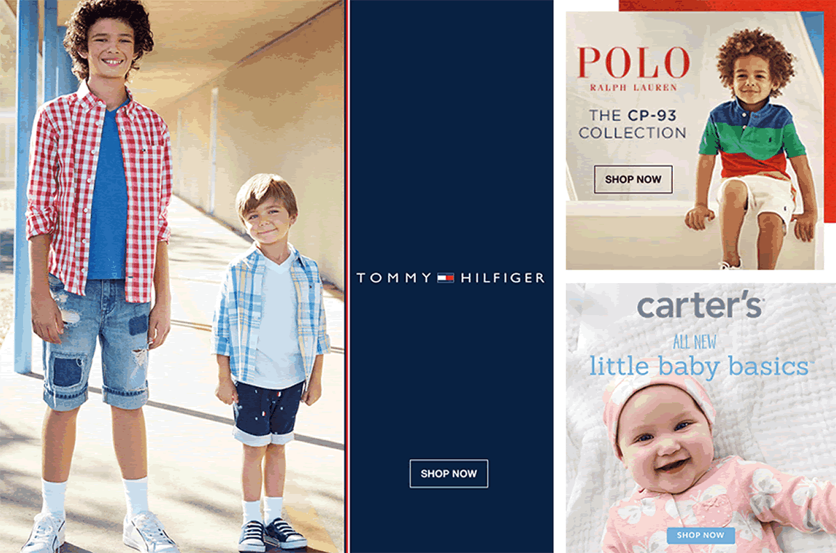 Tommy Hilfiger, Shop Now, Polo Ralph Lauren, The cp-93 Collection, Shop Now, Carter's All New little baby basics, Shop Now