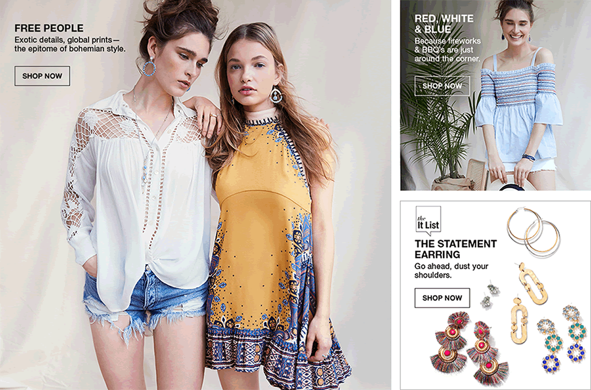 Free People, Exotic details, global prints-the epitome of bohemian style, Shop Now, Red, White and Blue, Shop Now, The It List, The Statement Earring, Go ahead, dust your shoulders, Shop Now