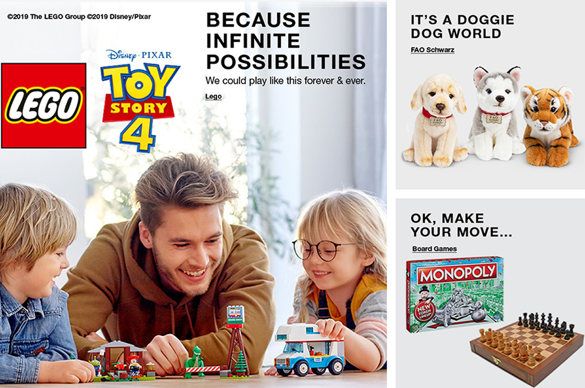 Because Infinite Possibilities, Lego, Its a Doggie Dog World, Faq Schwarz, ok, Make Your Move, Board Games