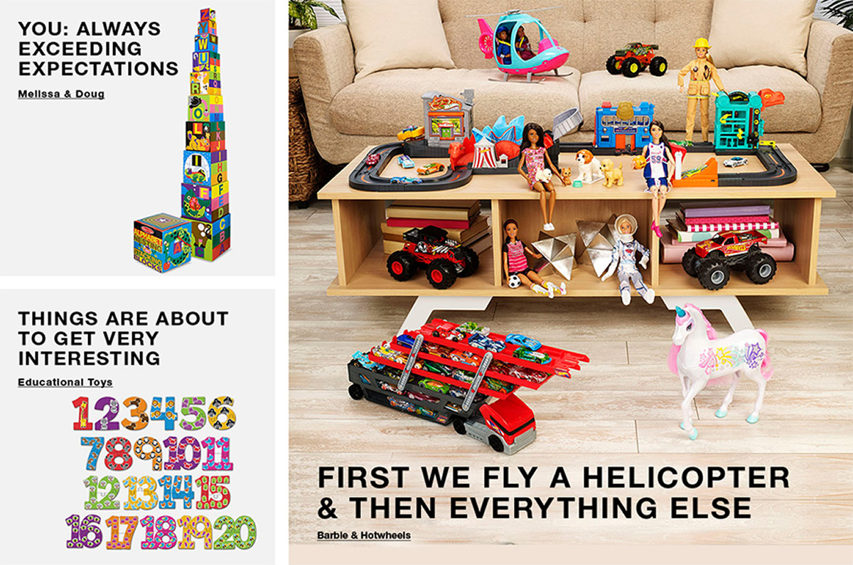 You: Always Exceeding Expectations, Melissa and Doug, Things Are About to Get Very Interesting, Educational Toys, First we Fly a Helicopter And Then Everything Else, barble and Hotwheels