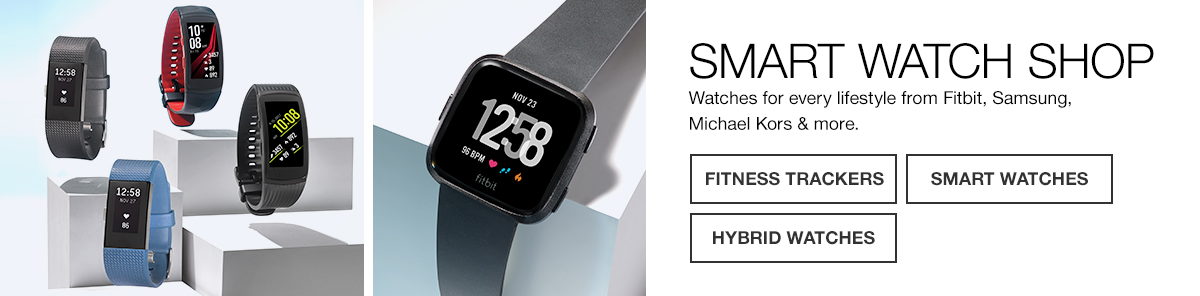 Smart Watch Shop, watches for every lifestyle from Fitbit, Samsung, Michael Kors and more, Fitness Trackers, Smart Watches, Hybrid Watches