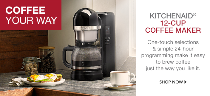 Coffee Your way, Kitchenaid 12-Cup Coffee Maker, One-touch selections and simple 24-hour programming make it easy to brew coffee just the way you like it, Shop now