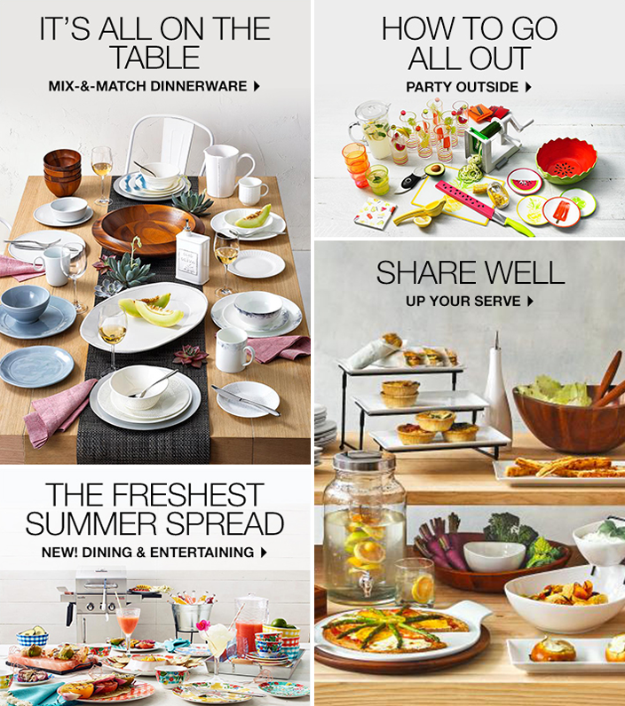It's All on The Table, Mix-and-Match Dinnerware, How to go All Out, Party Outside, Shape Well, up Your Serve, The Freshest Summer Spread, New! Dining and Entertaining