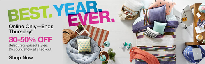 Best, Year, Ever, Online Only-Ends Thursday! 30-50 percent off Select reg,-priced styles, Discount show at checkout, Shop now
