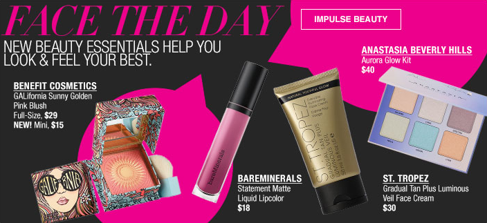 Face The Day, New Beauty Essentials Help you Look and Feel Your Best, Benefit Cosmetics, Bareminerals, St. Tropez, Anastasia Beveerly Hills, Impulse Beauty