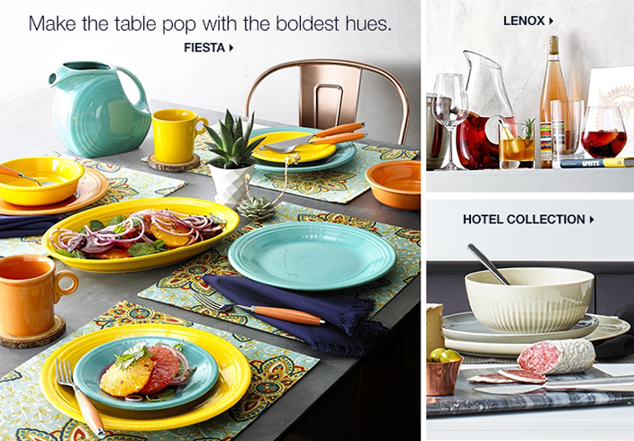Make the table pop with the boldest hues, Fiesta, Lenox, Hotel Collection