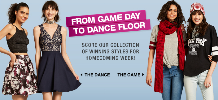 From Game Day to Dance Floor, Score our Collection of Winning Styles for Homecoming Week! The Dance, The Game