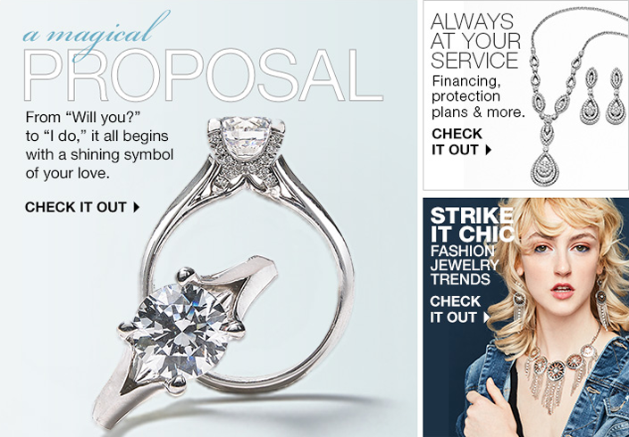 "A magical Proposal, From ""Will you?"" to ""I do,"" it all begins with a shining symbol of your love, Check it out, Always at Your Service, Check it out, Strike it Chic, Fashion Jewelry Trends, Check it out"