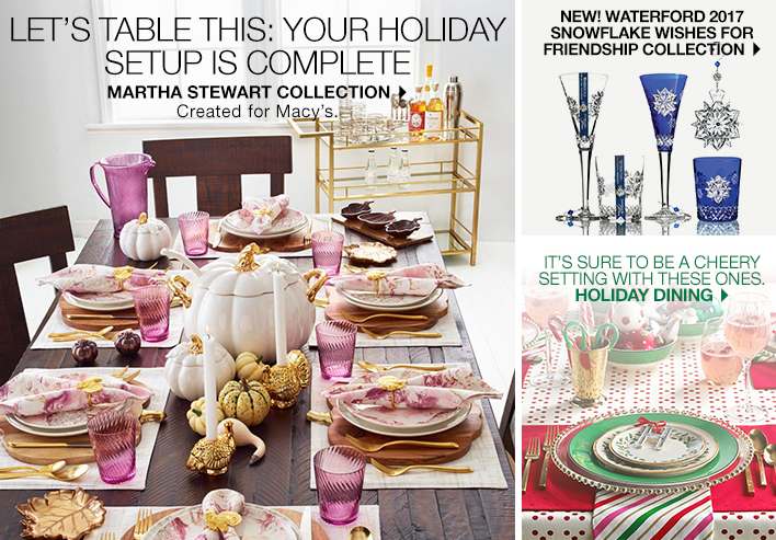 Let's table this: your holiday setup is complete, Martha Stewart Collection, Created for Macy's, New! Waterford 2017 Snowflake Wishes for Friendship Collection, It's sure to be a cheery setting with these ones, Holiday Dining
