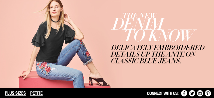 The New Denim to Know, Delicately Embroidered Details up The Ante on Classic Blue Jeans, Plus Sizes, Petite, Connect with us