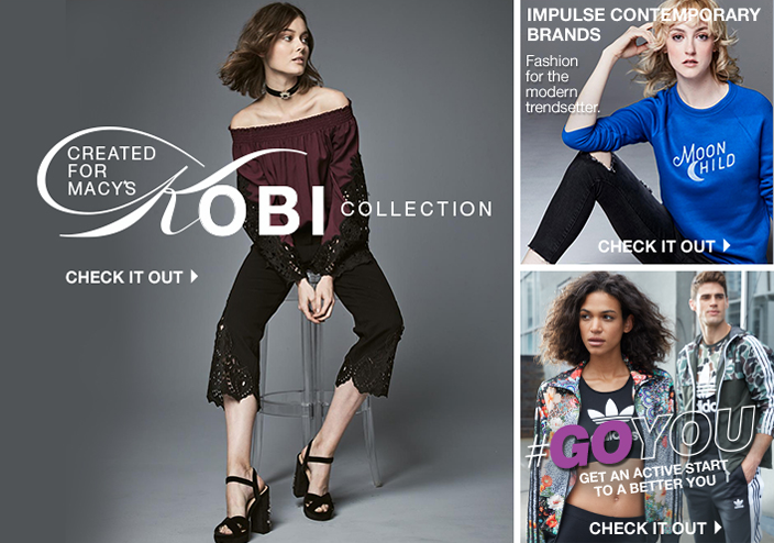 Created for Macy's, Kobi Collection, Check it Out, Impulse contemporary Brands, Fashion for the modern trendsetter, Check it Out, #Goyou, Get an Active Start to a Better you, Check it out