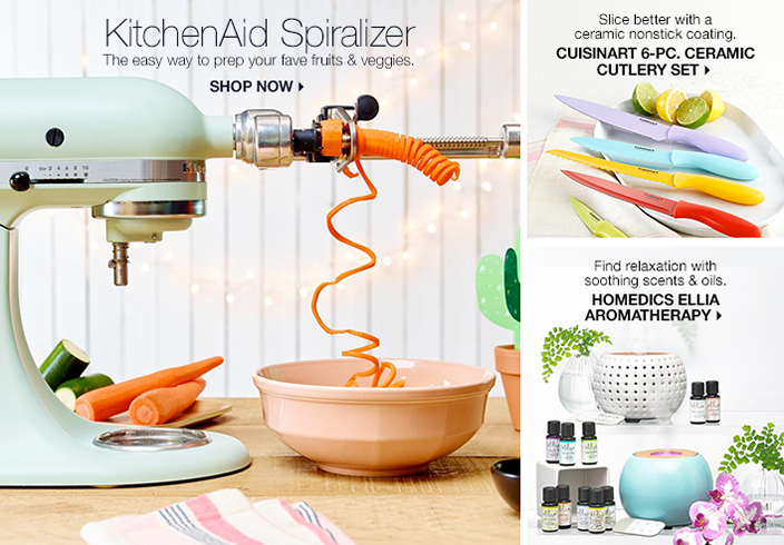 KitchenAid Spiralizer, The easy way to prep your fave fruits and veggies, Shop Now, Slice better with a ceramic nonstick coating, Cuisinart 6-Piece, Ceramic Cutlery Set, Find relaxation with soothing scents and oils, Homedics Ellia Aromatherapy