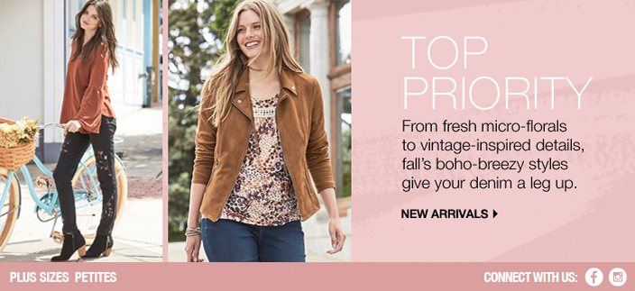 Top Priority, From fresh micro-florals to vintage-inspired details, fall's boho-breezy styles give your denim a leg up, New Arrivals, Plus Sizes Petites