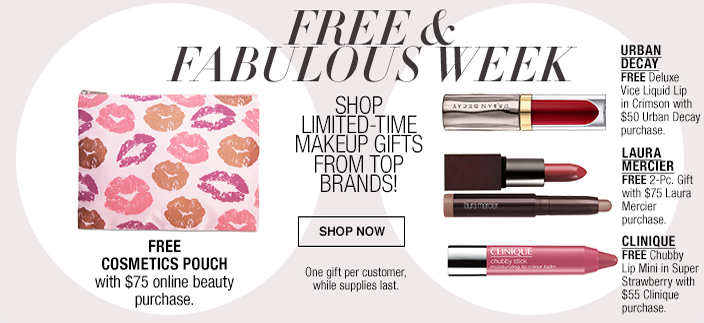 Free and Fabulous, Shop Limited-Time Makeup Gifts From Top Brands! Free Cosmetics Pouch, Urban Decay, Laura Mercier, Clinique, Shop now