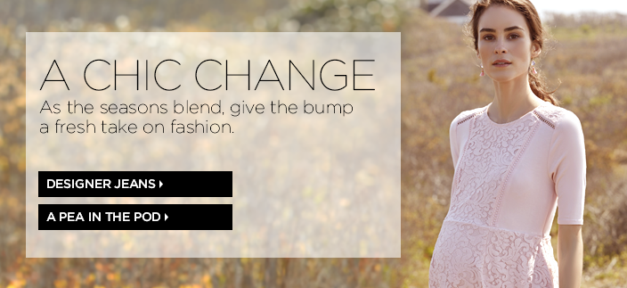 A Chic Change, As the seasons blend, give the bump a fresh take on fashion, Designer Jeans, A pea in the Pod