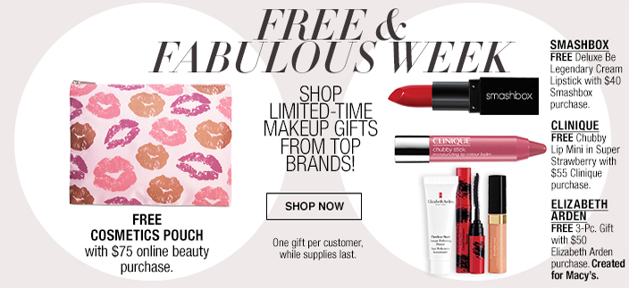 Free and Fabulous, Shop Limited-Time Makeup Gifts From Top Brands! Free Cosmetics Pouch, Smashbox, Clinique, Elizabeth Arden, Shop now
