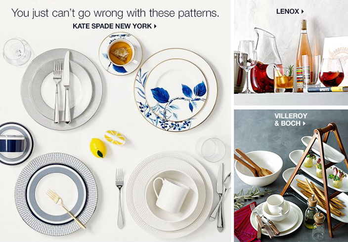 You just can't go wrong with these patterns, Kate Spade New York, Lenox, Villeroy and Boch