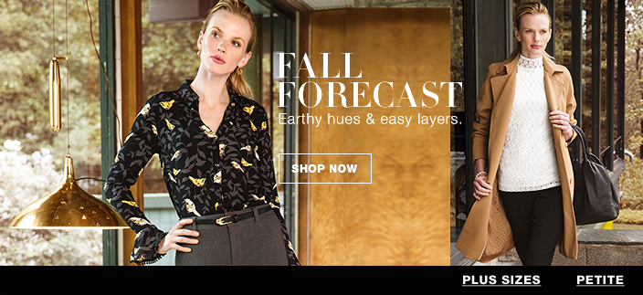 Fall Forecast, Earthy hues and easy layers, Shop now, Plus Sizes, Petite