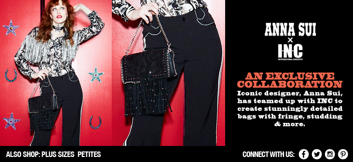 Anna Sui x INC, An Exclusive Collaboration, Iconic designer, Anna Sui, has teamed up with INC to create stunningly detailed bags with fringe, studding and more, Also Shop: Plus Sizes Petites