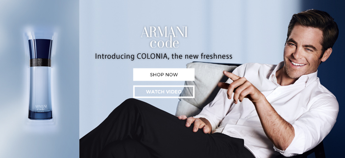 Armani code, Introducing Colonia, the new freshness, Shop now, Watch Video