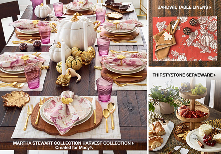 Martha Stewart Collection Harvest Collection, Created for Macy's, Bardwil Table Linens, Thirstystone Serveware
