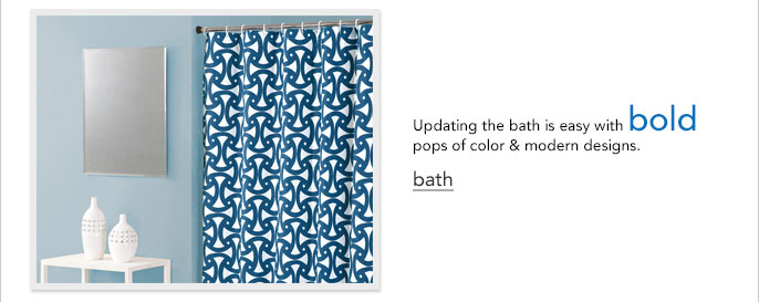 Updating the bath is easy with bold pops of color and modern designs