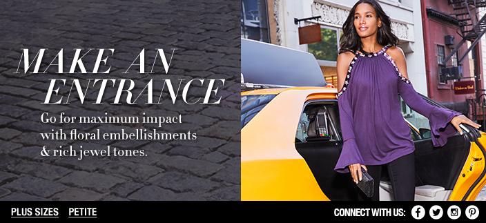 Make an Entrance, go for maximum impact with floral embellishments and rich jewel tones, Plus Sizes, Petite