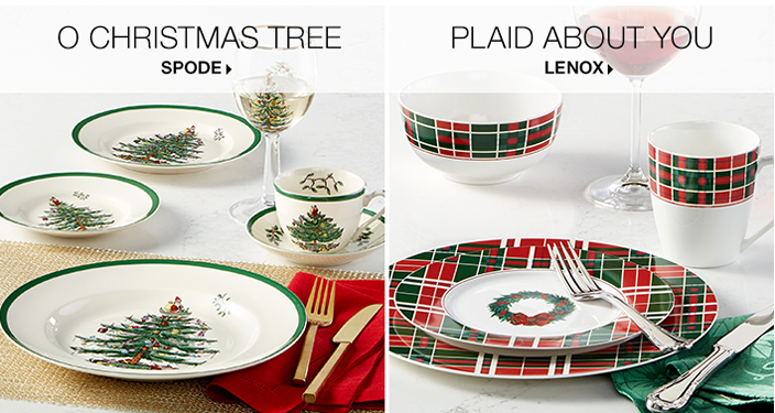 O Christmas Tree, Spode, Plaid About you, Lenox